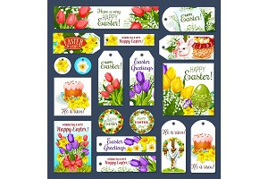 Easter holiday cartoon tag and label set design