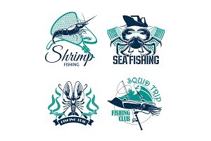 Fishing club or trip vector icons set