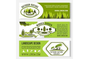 Landscape and outdoor nature design vector banners
