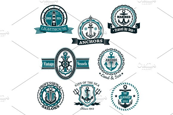 Marine And Nautical Heraldic Vector Icons Set