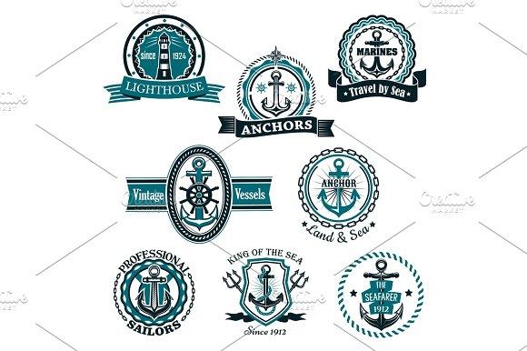 Marine And Nautical Heraldic Vector Icons Set