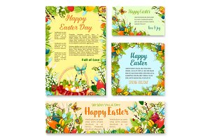 Easter Day festive banner and poster template set
