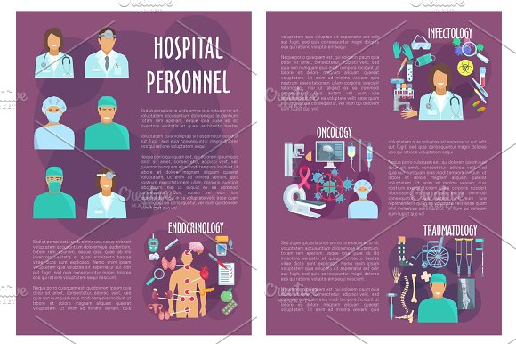 Hospital Department Personnel Vector Posters