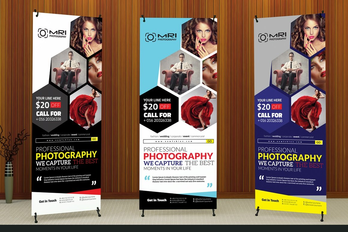 Photography Roll Up Banner Flyer Templates Creative Market