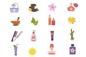 Spa icons vector set