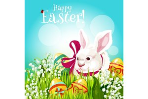 Easter rabbit and egg in green grass greeting card
