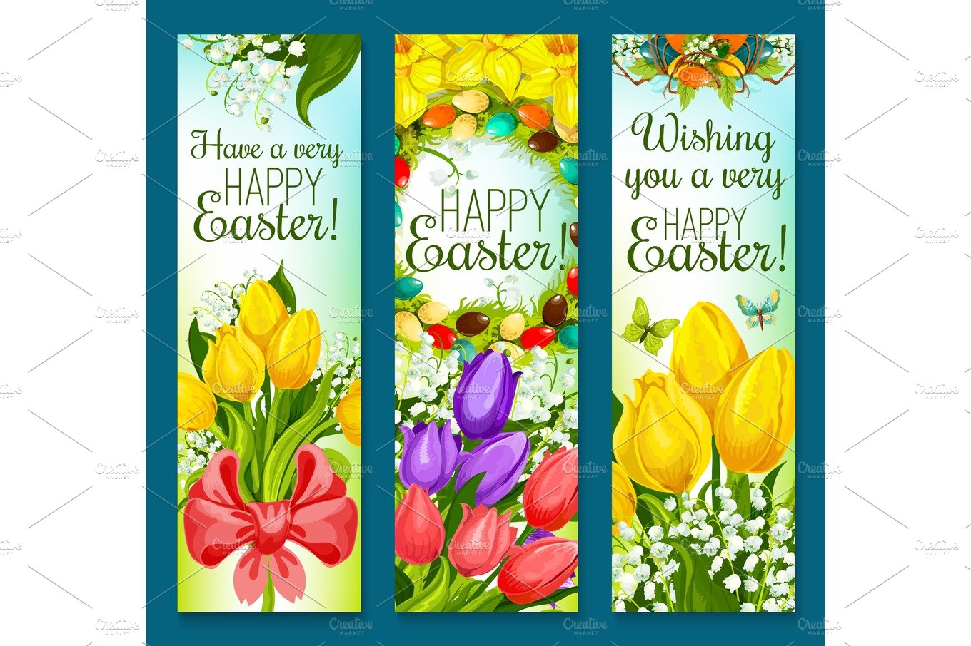 Easter Eggs And Flowers Greeting Banner Set Design Graphics