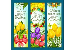 Easter eggs and flowers greeting banner set design