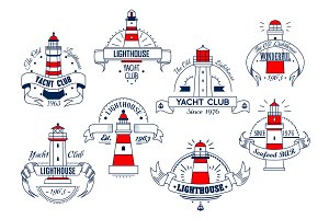 Lighthouse vector icons for yacht club or bar