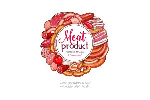 Butchery meat sausage delicatessen vector poster