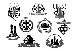 Chess club emblems and vector icons