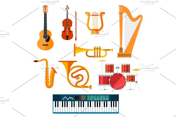 Musical Wind Key Or String Vector Instruments