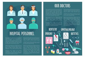 Hospital medical doctor personnel vector posters