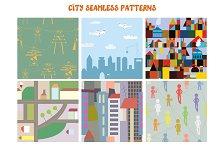 City seamless funny patterns