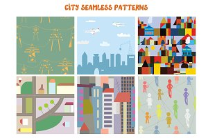 City seamless funny patterns