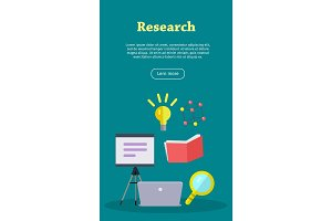 Research Web Banner. Website template.