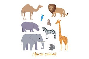 Set of African Animals Flat Design Illustrations