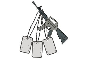 M4 Carbine Dog Tags Hanging