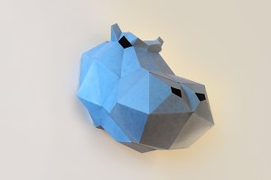 DIY Hippo Trophy  - 3d papercrafts