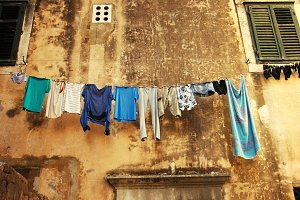 Hanging clothes in the street