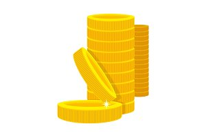 Golden Coins in a Stack in Cartoon Style.