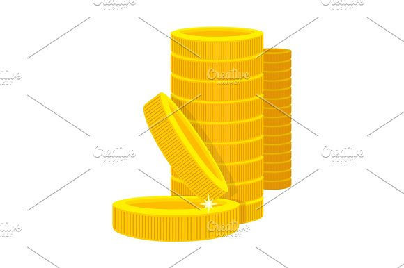 Golden Coins In A Stack In Cartoon Style