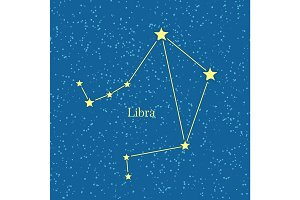 Night Sky with Libra Constellation Illustration
