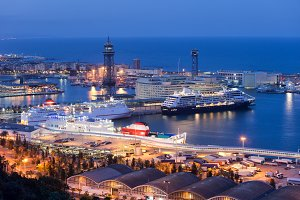 Barcelona Port City at Night