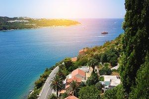 Aerial view on sea coastline