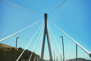 Road on cable-stayed bridge