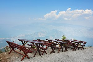 Travel background with rustic tables