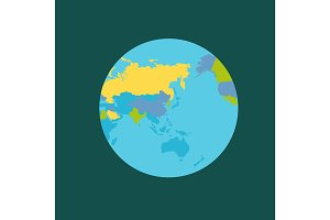 Planet Earth with Countries Vector Illustration.