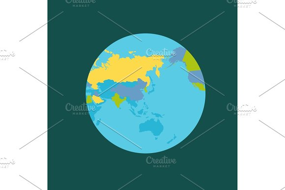 Planet Earth With Countries Vector Illustration
