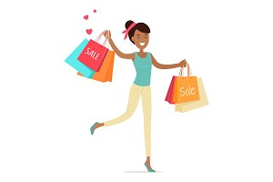 Sale in Woman's Clothing Shop Vector Concept