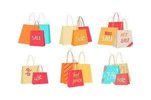 Sale Concepts with Paper Bags illustrations Set