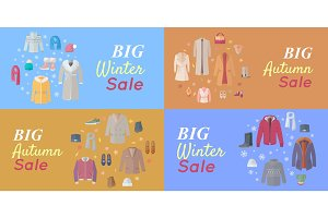 Seasonal Sales Vector Concepts in Flat Design