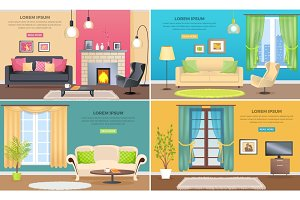 Apartment Interiors Vector Web Banners Set