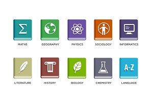 Vector Set of School Icons.