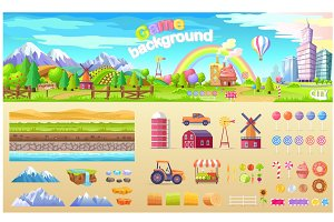 Game Background Set of Urban Playground Structure