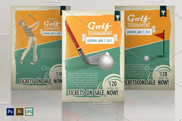 Retro golf posters or flyers set