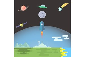 Rocket launch flat style vector illustration