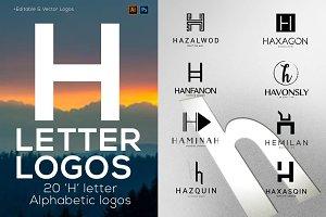 """20 """"H"""" Letter Alphabetic Logos"""