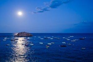 Moonlight in the Mediterranean sea