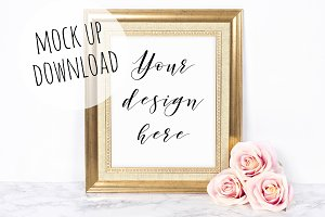 Pretty Gold Frame Photography Mockup