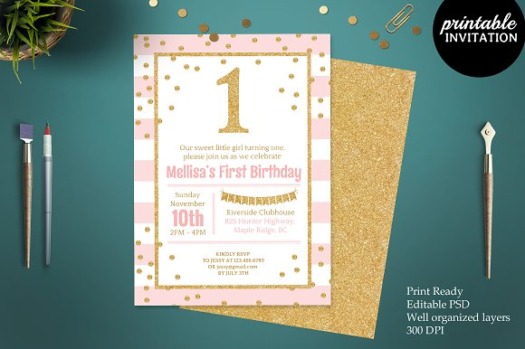 Pink And Gold Glitter 1st Birthday