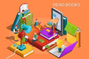 Reading people Isometric flat design