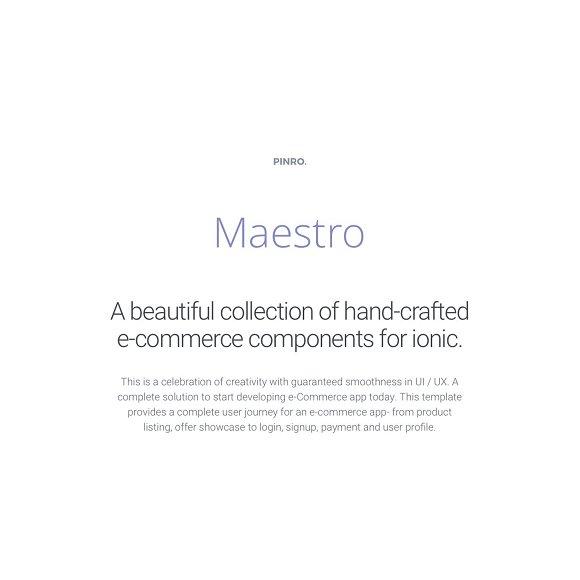 Maestro - Ionic 1 E-commerce Theme
