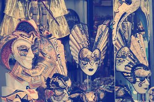 Group of Vintage venetian carnival masks, Venice