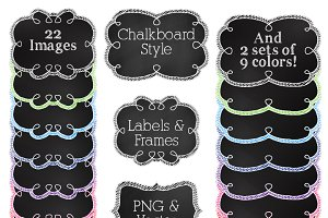 Chalkboard Labels Clipart & Vectors