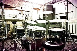 Drums in studio. Music concept.